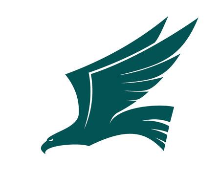 Majestic fliegenden Falken Vogel mit erhobenen Flügeln im Profil, blau und weiß Vektor-Silhouette