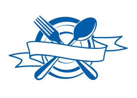 Restaurant banner with a blank ribbon with copyspace for your text swirling across an empty plate with a crossed spoon and fork, vector illustration