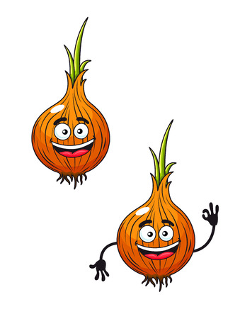 cheerfully: Cartoon vector illustration of two happy smiling fresh onions sprouting green at the top with one cheerfully waving its hands