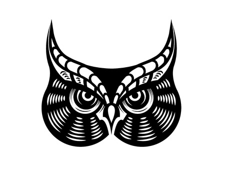 Cartoon vector illustration in black and white of the face of a fierce looking horned owl Illustration