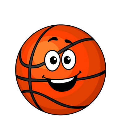 Cartoon happy basketball ball with a big smile and googly eyes isolated on white, vector illustration