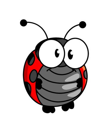 ladybug: Red and black spotted smiling happy little ladybug or ladybird in cartoon style standing upright with big round eyes on white