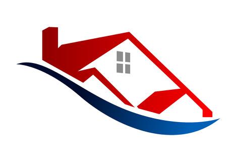 현대 붉은 가정의 에코 집 아이콘 개요를 묘사하는 만화 벡터 일러스트 레이 션 일러스트