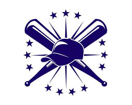 Championnat icône de baseball avec des battes croisées et un chapeau entouré d'un anneau d'étoiles dans un design sport bleu et blanc