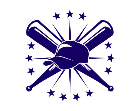 Championship baseball icon with crossed bats and a cap surrounded by a ring of stars in a blue and white, sport design Illustration