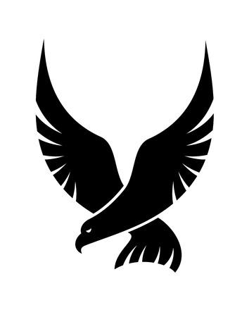 Zwart en wit cartoon vlieger valk met uitgespreide vleugels komen om zijn prooi te vangen, geïsoleerd op wit