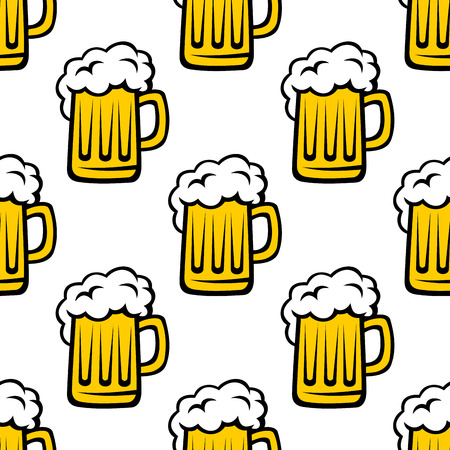 Seamless pattern background of tankards filled with golden lager or beer with white frothy heads Vector