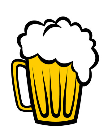tankard: Cartoon vector illustration depicting a pint of refreshing frothy beer on a glass tankard isolated on white