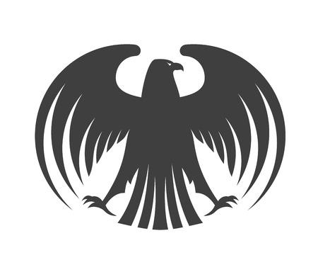 Silhouet van een zwarte adelaar met uitgespreide vleugels en zijn hoofd gedraaid naar de kant geïsoleerd op wit voor wapenkundeontwerp