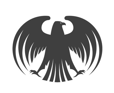 Silhouette of a black eagle with outspread wings and its head turned to the side isolated on white for heraldry design Иллюстрация
