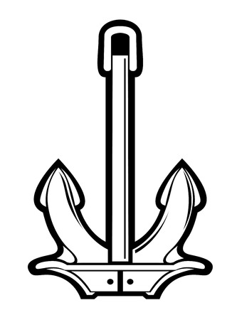 Black and white vector illustration of a nautical ships anchor with heavy flukes and no chain