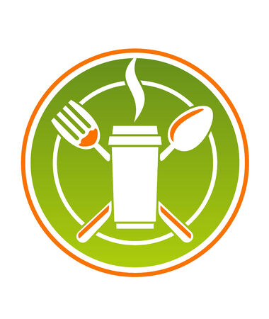 polystyrene: Cartoon restaurant icon for fastfood with a steaming polystyrene cup of hot beverage with a spoon and fork on a green plate, vector illustration
