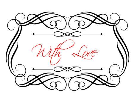 enclosing: Piuttosto vorticoso cornice calligrafica racchiude le parole - With Love - in rosso