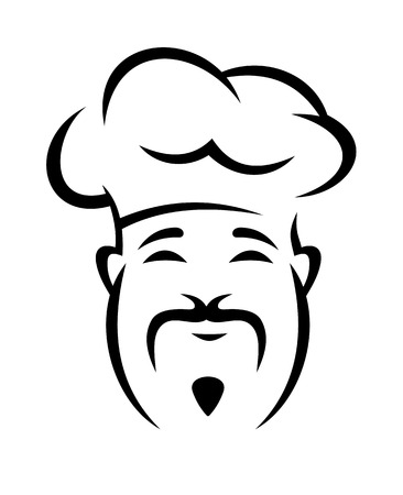 droopy: Black and white doodle sketch of a cheerful chinese chef with a droopy moustache wearing a traditional toque Illustration