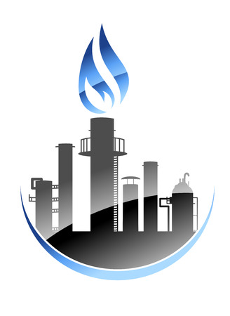refinery: Vector icon depicting a modern oil refinery or industrial plant with tall smokestacks or chimneys with the central one emitting a burning flame