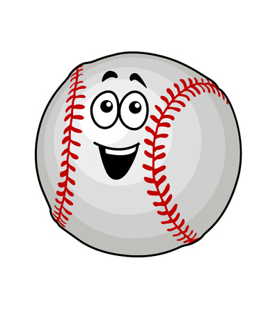 Cartoon vector illustration of a fun happy baseball ball with colourful red stitching and a smiling face isolated on white Vector