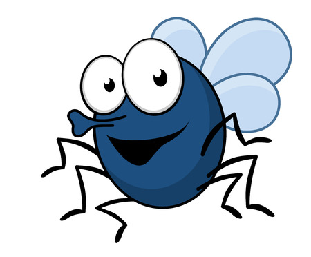Cartoon vector illustration of a flying fly insect with a proboscis and a happy smile Vector