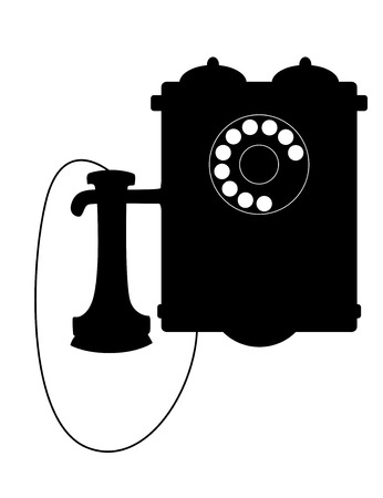 telephone box: Vintage rotary telephone with a mouthpiece hanging alongside the box with its bells, vector illustration Illustration