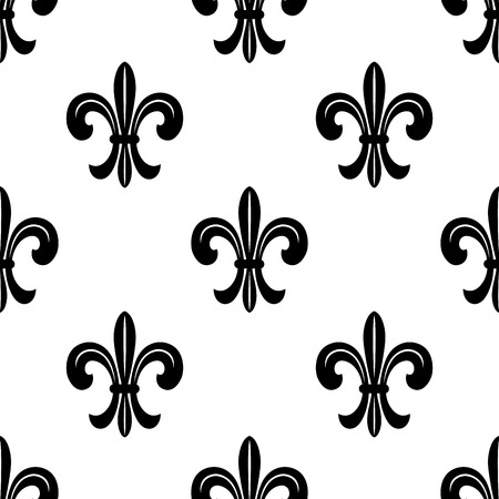 french symbol: Stylized French fleur de lys seamless pattern in black and white suiable for fabric , print or wallpaper