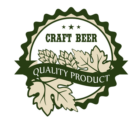 Circular Craft Beer design label with hops and leaves over a banner reading - Premium Product - enclosed within a circular border with the text and stars