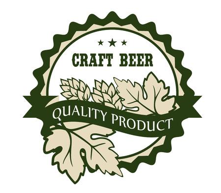 Cirkelvormige Craft Beer design label met hop en vertrekt over een spandoek met de tekst - Premium Product - omsloten door een cirkelvormige grens met de tekst en de sterren