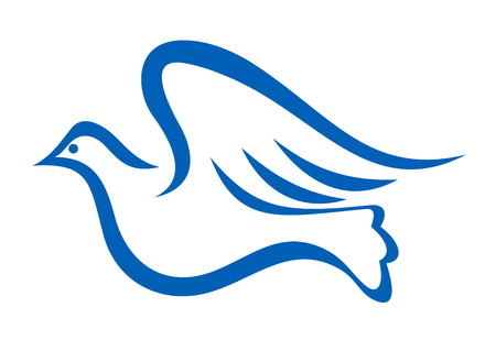Minimalist blue illustration of a dove flying, symbol of peace and freedom, isolated on white background