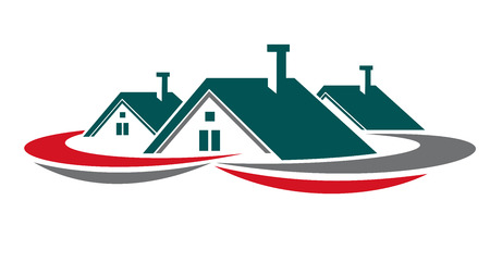 house rental: Real estate symbol with houses and home roofs for design