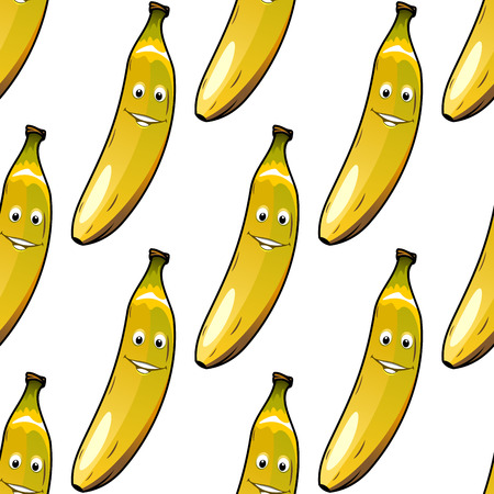 Seamless background pattern of happy ripe yellow bananas with smiley faces on white, cartoon vector illustration Vector