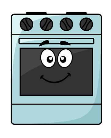 Cartoon elettrodomestico da cucina - un felice sorridente freestanding unità forno elettrico con grandi occhi finti isolato su bianco, illustrazione vettoriale Vettoriali