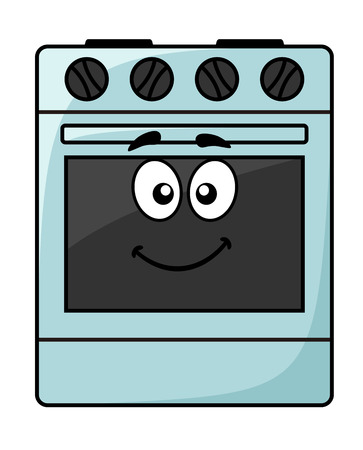 Cartoon kitchen appliance - a happy smiling freestanding electrical oven unit with big googly eyes isolated on white, vector illustration Vectores