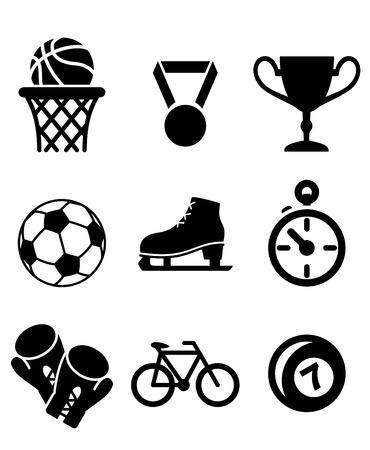 guantes de boxeo: Colección de iconos de los deportes como baloncesto, fútbol, ??fútbol, ??patinaje sobre hielo, guantes de boxeo, ciclismo y cuencos con una medalla de ganadores, trofeo y un cronómetro en blanco y negro