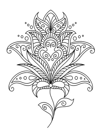 dainty: Intricate dainty black and white floral motif design element with the outline of a beautiful flower on two tiny leaves, vector illustration Illustration