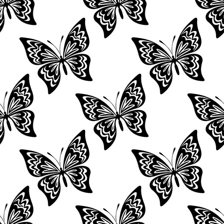 Black and white vector seamless pattern of butterflies with outspread wings showing swirling markings on white, square format Vector