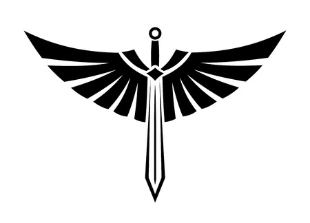 Ilustración vectorial blanco y negro de una espada con alas con las alas desplegadas y las plumas elegantes para el diseño del tatuaje Foto de archivo - 25727547