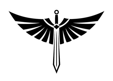 espadas medievales: Ilustración vectorial blanco y negro de una espada con alas con las alas desplegadas y las plumas elegantes para el diseño del tatuaje Vectores