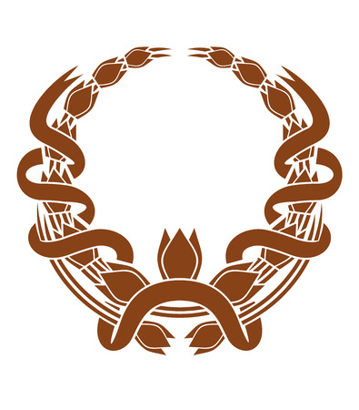 Laurel wreath with a serpentine ribbon entwined around the two sides and a central foliate motif , brown and white vector illustration with copyspace Stock Vector - 25727545