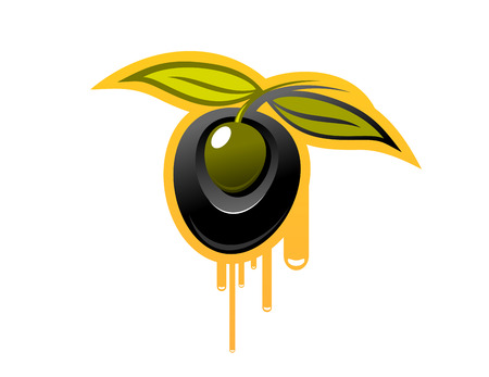 shiny black: Cartoon vector illustration of a shiny black olive attached to two green leaves dripping golden olive oil, isolated on white