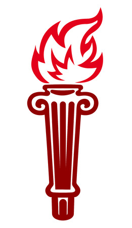 torch flame: Flaming torch in a fluted holder, vector doodle sketch in shades of red isolated on white