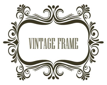 embellishments: Symmetrial vintage frame with a swirling floral design and central copyspace, vector illustration Illustration