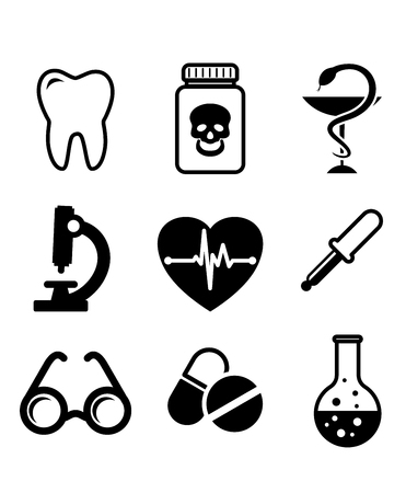 Collection of medical icons in black and white depicting a tooth for dentistry, poison, microscope, heart with ECG, spectacles, dropper, amd laboratory glassware Vector