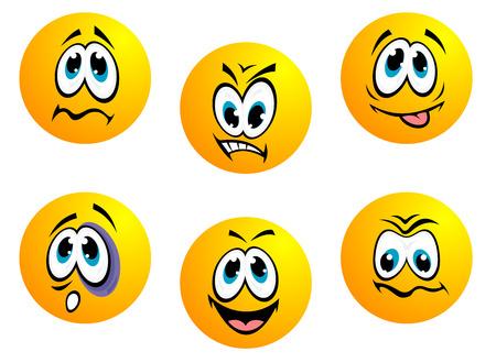 ignorancia: Colecci�n de iconos gestuales amarillos que muestran una amplia gama de expresiones incluyendo la ira, la ignorancia t�mido, feliz, perplejo, sorprendido, preocupado y resignado aislado en blanco