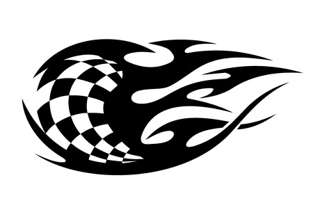 Black and white checkered flag used in motor sport with motion trails showing the speed of cars or bikes Illustration