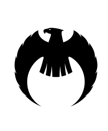 eagle symbol: Powerful eagle silhouette with long curved wings and a fierce looking head turned to the side, black and white vector illustration