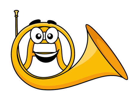 loudly: Cartoon illustration of a french horn Illustration