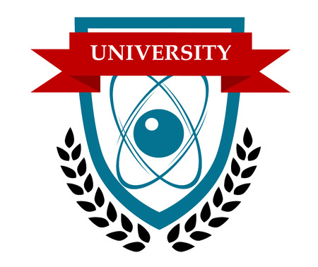 below: University emblem vector design with orbiting atoms in a shield depicting the sciences and a ribbon banner with the text and a foliate wreath below Illustration