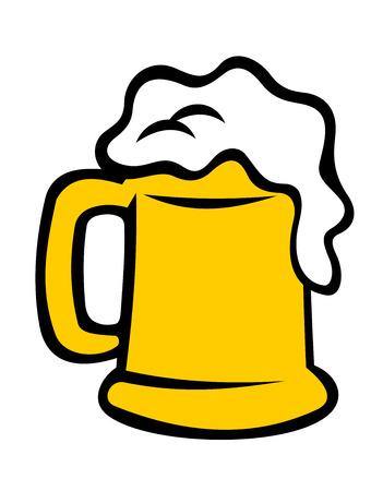 d�bord�: Chope plein d�bordant de bi�re mousseuse, ale ou lager isol� sur fond blanc. Cartoon illustration vectorielle