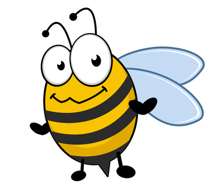 Little striped black and yellow honey bee with a bemused smiling expression. Cartoon vector illustration Vector