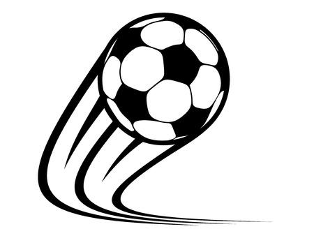 Zoomen voetbal vliegen door de lucht met gebogen beweging paden in een zwart-wit vector krabbelschets