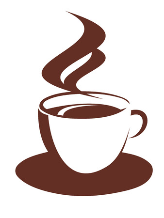 Brown and white vector doodle sketch of a steaming cup and saucer of freshly brewed coffee