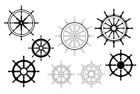 ship steering wheel: Collection of different black and white vector designs for nautical ships wheels